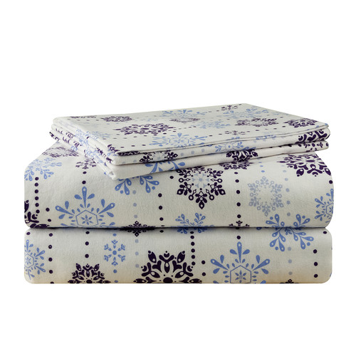 Pointehaven Snow Drop Flannel 100pct Cotton Sheet Set