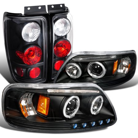 Spec-D Tuning Black 1997-2002 Ford Expedition Dual Halo Led Headlights + Altezza Tail Brake Lamps (Left + Right) 97 98 99 00 01 02