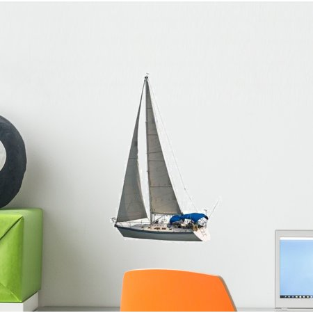 Sailboat Wall Decal Sticker, Wallmonkeys Peel & Stick Vinyl Graphic (12 in H x 9 in (Living On A Sailboat In The Caribbean)