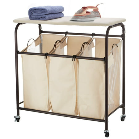 Allieroo Rolling Laundry Sorter Cart Laundry Hamper Sorter with Ironing Board Heavy Duty 3 Bags (Beige)