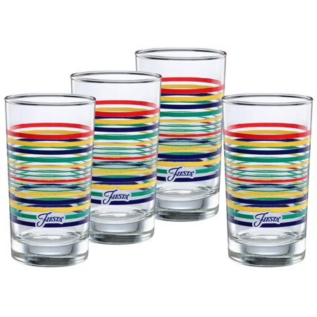 Fiesta Drinking Glasses (Officially Licensed Fiesta Stripes 7-Ounce Juice Glass (Set of 4) (Cobalt Collection) Cobalt)