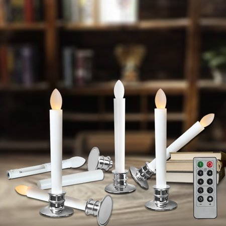 Flameless Taper Candles Electric Window White With Removable Holders Led Christmas Timer Wedding Party Decoration Silver Base 2 6 10pcs