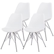 Duhome Kitchen Dining Chairs Upholstered Mid Century Shell Side Chair Armless Tulip Chair Set of 4 (White)