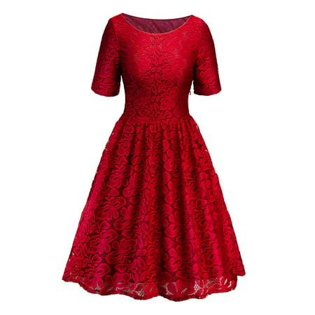 Lace Dresses for Women Vintage Floral Evening Rockabilly Cocktail Skater Party Prom Ball Gown Summer Short Sleeve Dress ()