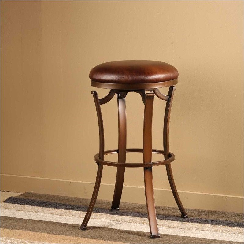 Hillsdale Kelford 30 Backless Swivel Bar Stool In Antique Bronze