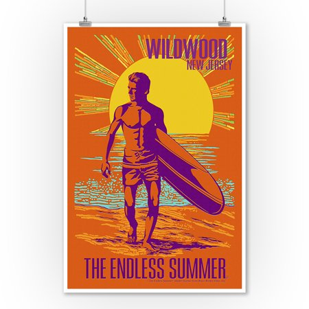 The Endless Summer - Psychedelic Surfer - Wildwood, NJ- Lantern Press Artwork (9x12 Art Print, Wall Decor Travel Poster) (Wildwood Nj)