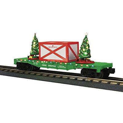 mth 30-76684 christmas flat car w/lighted christmas trees