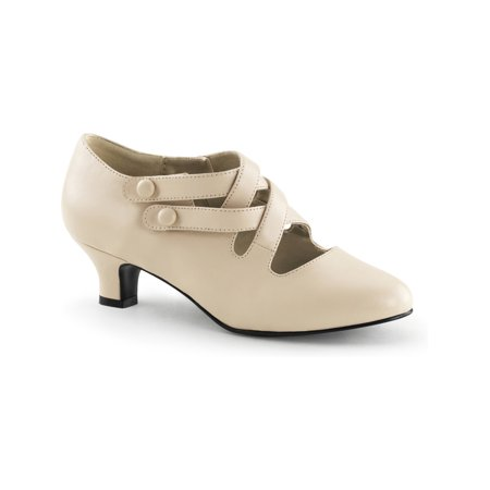 Womens Matte Cream 2 Inch Chunky Kitten Heel Shoes with Unique Strap Detail - 3 Inch Chunky Heels