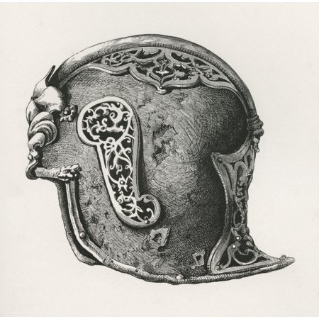 A Sallet Aka Salade Or Schaller War Helmet AD 1450 From The British Army Its Origins Progress And Equipment Published 1868 Stretched Canvas - Ken Welsh  Design Pics (14 x 14)