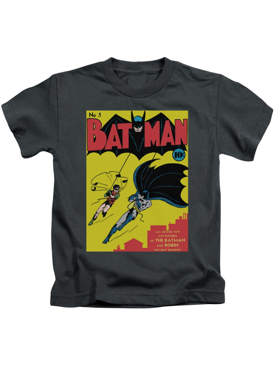 Batman Batman First T-shirt Trevco Charcoal Kids Unisex 100% Cotton Short Sleeve