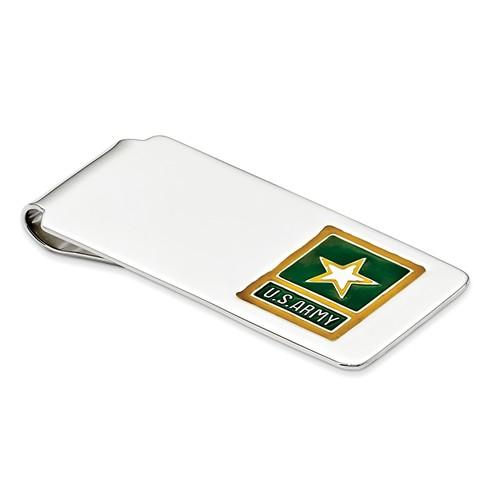 Sterling Silver Army Yellow Star Engravable Money Clip