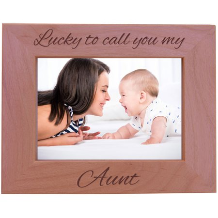 CustomGiftsNow Lucky To Call You My Aunt - Wood Picture Frame - Fits 5x7 Inch Picture (Horizontal) ()
