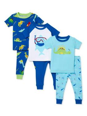 Wonder Nation Baby Boy Snug Fit Cotton Short Sleeve Pajamas, 6pc Set