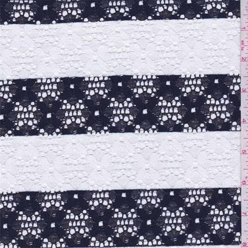 Dark Navy/White Stripe Floral Lace, Fabric By the Yard
