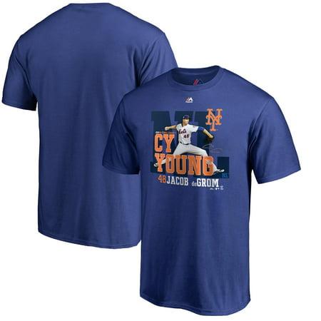 Jacob deGrom New York Mets Majestic 2018 NL Cy Young Award T-Shirt - Royal](Jabot Shirt)