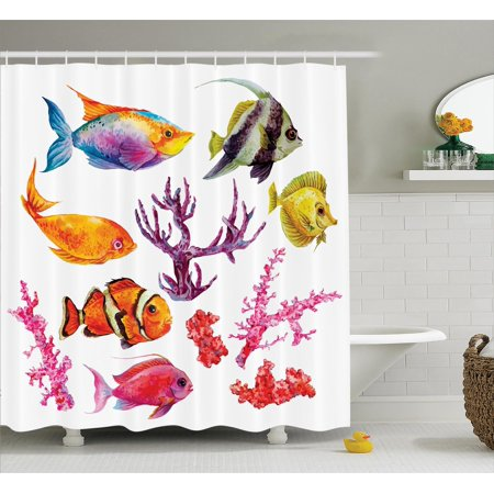 Ocean Decor Shower Curtain Set Illustration Of Tropical Fish Seaweed Coral Algae And Jellyfish