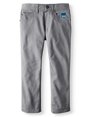fb814216d Product Image 365 Kids Garanimals Boy's Stretch Twill Patched Monster Crew  Pants (4) Gray