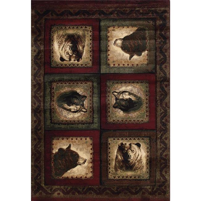 United Weavers 512 27234 24 1 ft. 10 in. x 2 ft. 8 in. Designer Contours John Q. Bears & Wolf Accent Rug, Burgundy - image 1 of 1