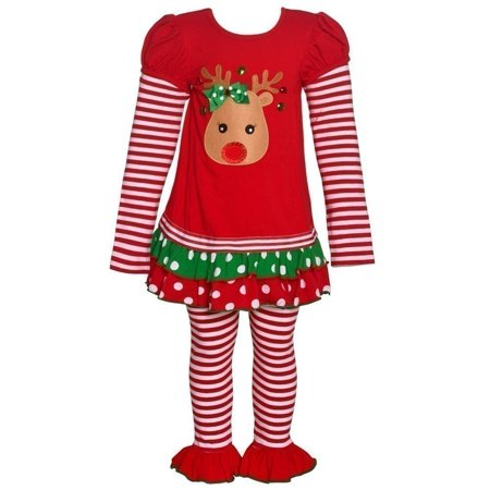 Bonnie Jean Baby Girls Red Reindeer Applique Christmas 2 Pc Legging Set](Baby Christmas Reindeer Outfit)
