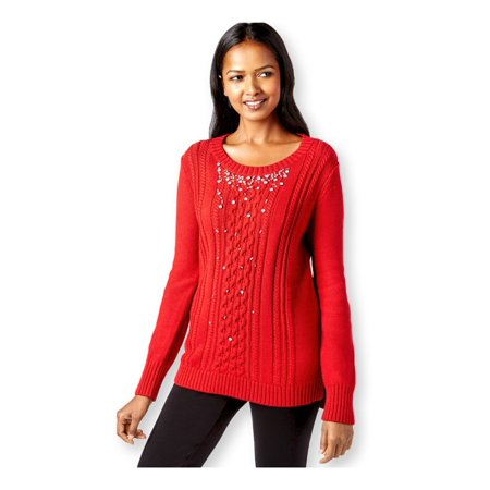 Grace Elements Womens Embellished Cable-Knit Pullover Sweater scarletsage XS