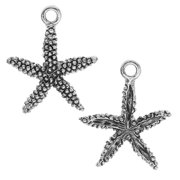 Charm, Starfish 16.5x19.5mm, 2 Pieces, Antiqued Silver
