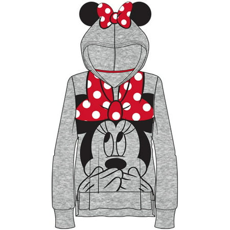Youth Girls Minnie Ears Big Face Pullover Gray