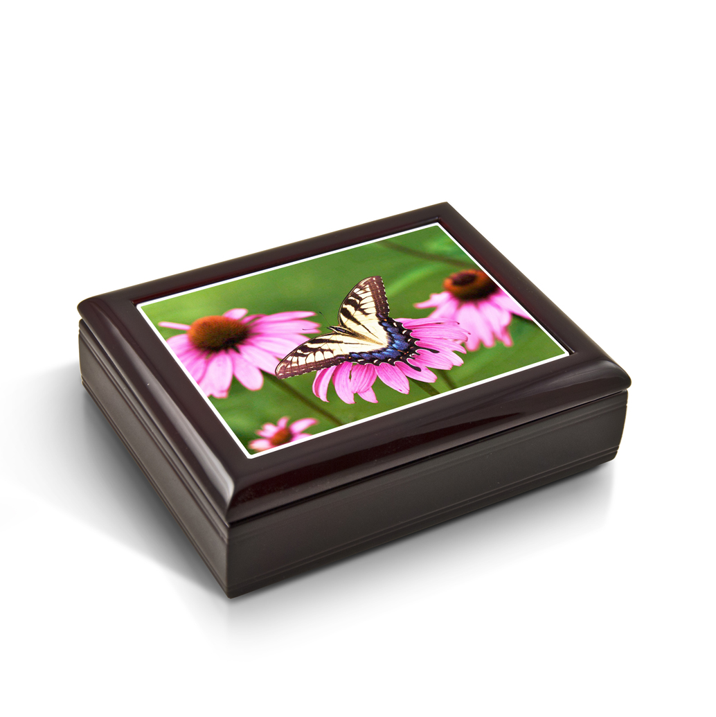 A Gentle Tiger Swallowtail Butterfly And Gerbera Daisies Tile Musical Jewelry Box - Happy Wanderer