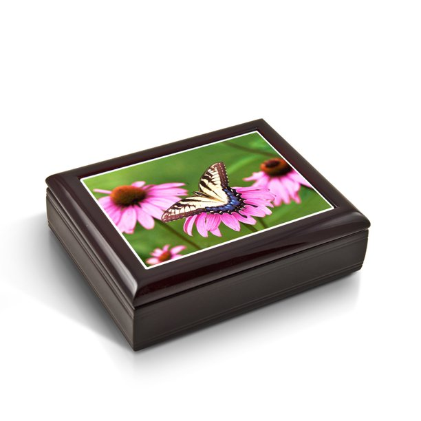 A Gentle Tiger Swallowtail Butterfly And Gerbera Daisies Tile Musical Jewelry Box - Four Seasons, Spring (Vivaldi)
