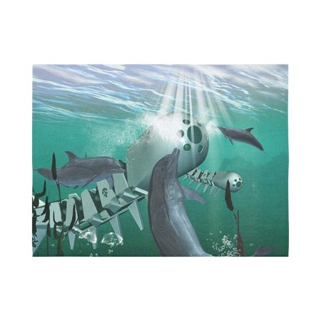 CADecor Dolphin with mechanical fish Wall Tapestry Wall Hanging Wall Art Home Decor 60x80 inches