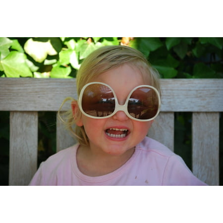 Peel-n-Stick Poster of Sunglasses Child Cute Face People Poster 24x16 Adhesive Sticker Poster (Sunglasses Stickers)