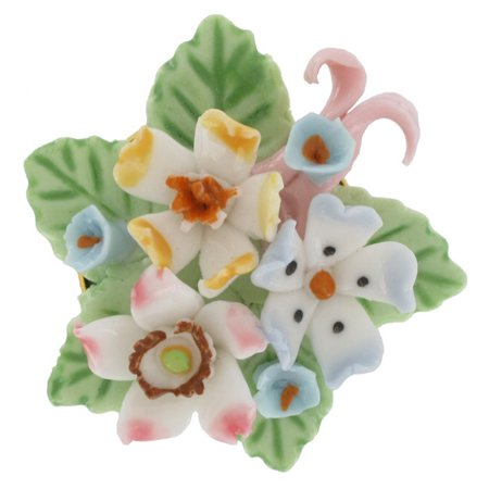 China Ceramic Pink Blue Forget Me Not Flower Bouquet Pin Brooch