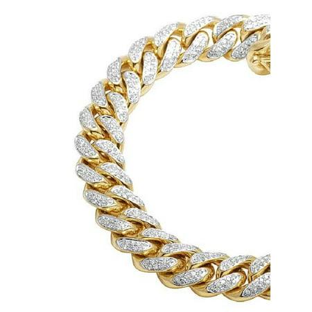 Mens 10k Yellow Gold Miami Cuban Diamond Bracelet 10mm 4 0 Ct