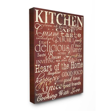 The Stupell Home Decor Collection Collection Words in the Kitchen, Off Red Oversized Stretched Canvas Wall Art, 24 x 1.5 x 30 24 X 30 Framed Canvas