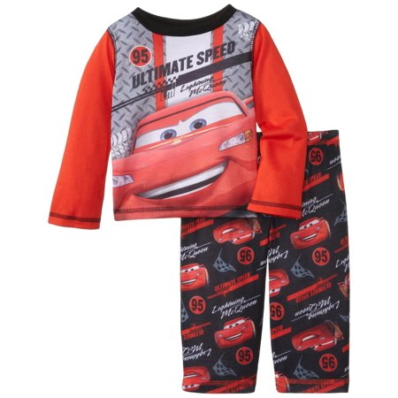 Disney Boys' Cars Poly 2 Piece Pajama Set, Red, Size: 18 Months