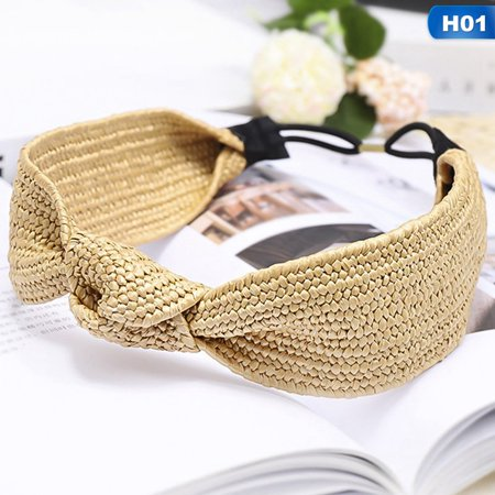 AkoaDa Women's Straw Headband Tie Hairband Braided Hair Hoop Twist Knot Hair Band