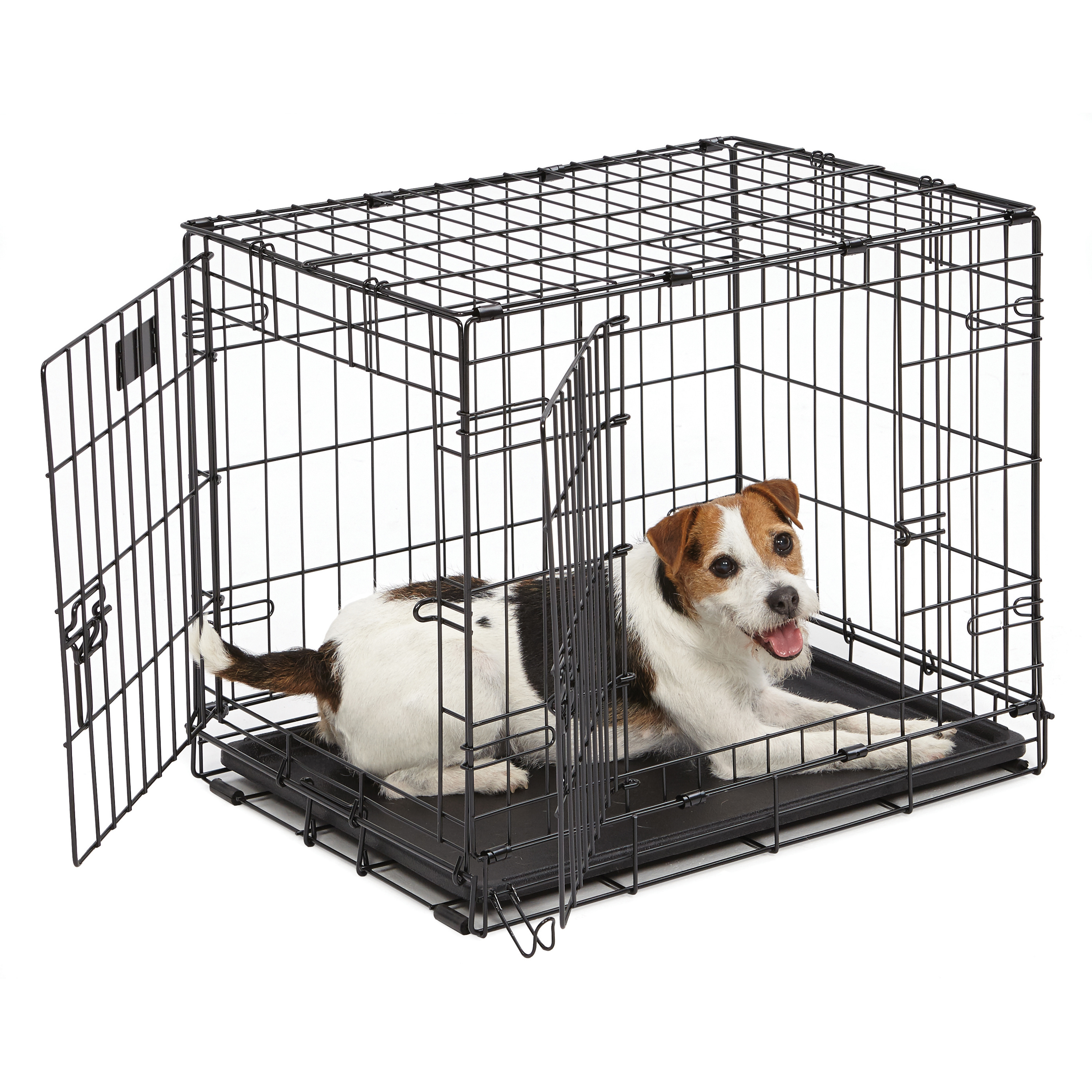 Double Door iCrate Metal Dog Crate, 24-Inch, Black