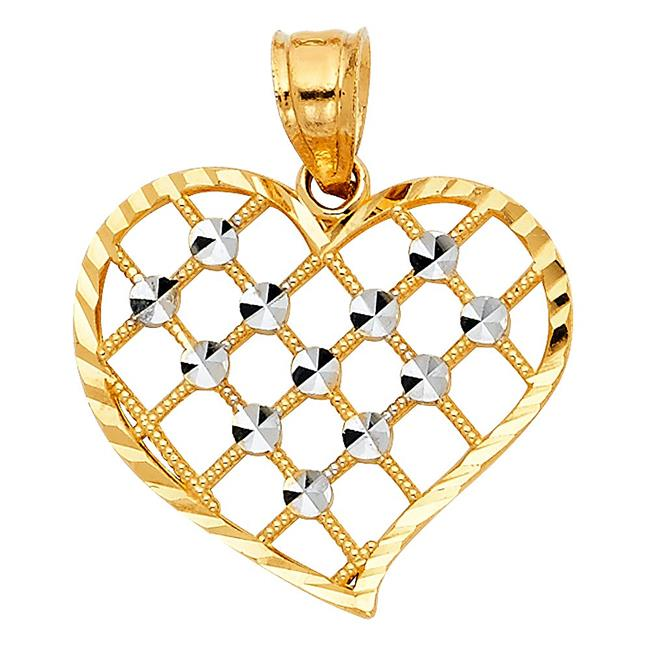 2f910b04377a8 Precious Stars Jewelry 14k Two-Tone Gold Cross Hatch Heart Pendant