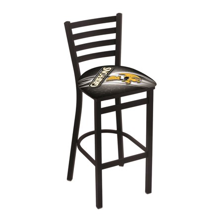 "L004 - 25"" Black Wrinkle Missouri Western State Stationary Counter Stool with Ladder Style Back by the Holland Bar Stool Co."