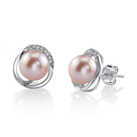 - 8mm Pink Freshwater Cultured Pearl & Crystal Johnson Earrings
