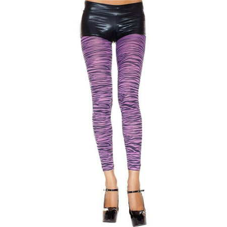 Music Legs 35813-PURPLE-BLACK Zebra Print Opaque Thigh High Leggings, Purple & - Purple Zebra Print