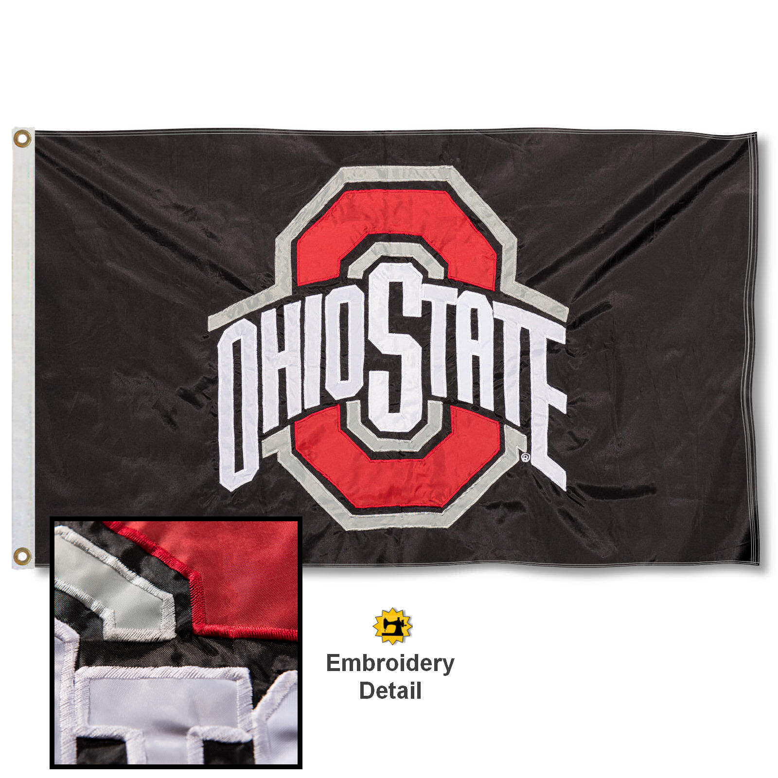 OSU Buckeyes 3' x 5' Nylon Embroidered Flag
