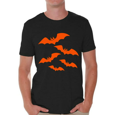 Awkward Styles Orange Bats Tshirt for Men Halloween Bats Shirt Men's Halloween Shirt Funny Cartoon Bats T Shirt Holiday Gifts for Him Halloween Party Outfit Family Trick Or Treat Men's Tshirt - Mickey's Halloween Party Cartoon