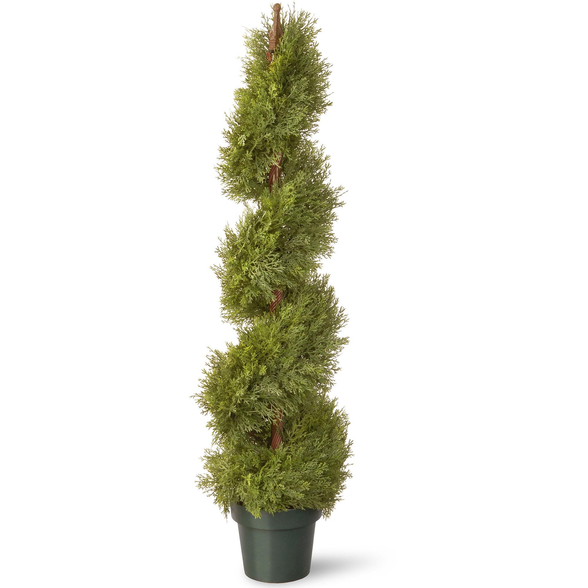 "National Tree 48"" Juniper Slim Spiral with Green Pot"