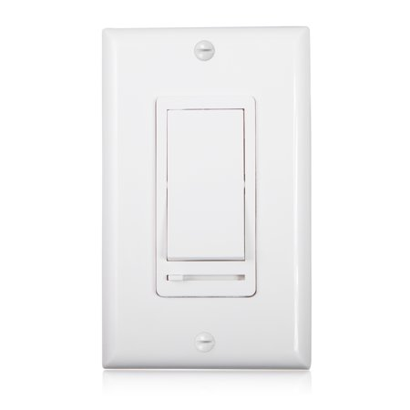 0-10V Slide Dimmer Rocker Switch, Wall Plate Included (Quiet Electronic Low Voltage Dimmer)