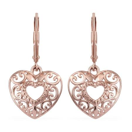 Italian Rose Gold Earrings (925 Sterling Silver 14K Rose Gold Plated Dangle Drop Heart Earrings Gift Jewelry for)