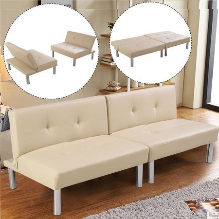 Costway Folding PU Leather Futon Convertible Sofa Sleeper Bed Living Room Beige