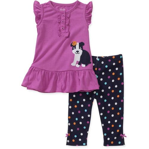 Child of Mine by Carters Newborn Girls' 2-Piece Ruffle Dog Tunic and Legging Set
