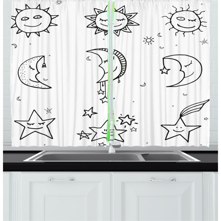Sketchy Curtains 2 Panels Set, Hand Drawn Image of Sun Moon Stars Emoji Kids Nursery Room Art Print Image, Window Drapes for Living Room Bedroom, 55W X 39L Inches, Black and White, by Ambesonne ()
