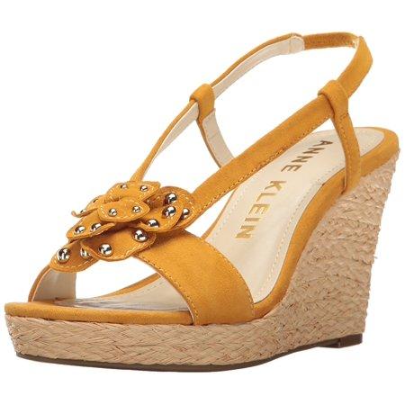 Anne Klein Womens Marigold Suede Round Toe Casual Dark Yellow Size 80