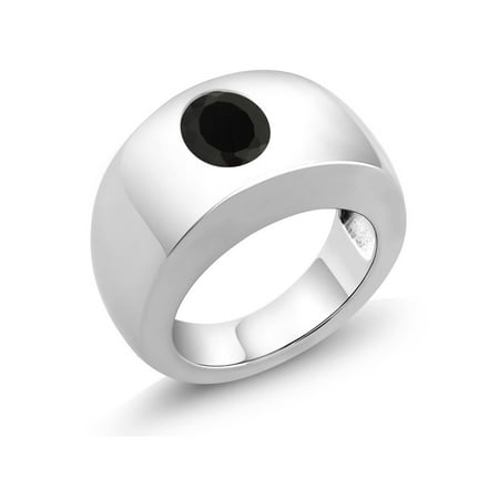2.00 Ct Oval Black AAA Onyx 925 Sterling Silver Men's Solitaire